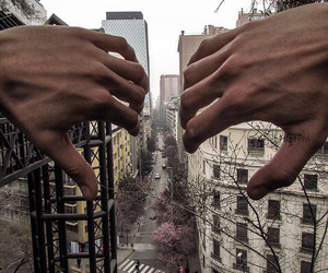 hands, city, and grunge image