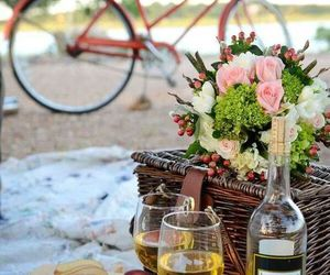 picnic, flowers, and wine image
