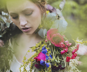 flowers, girl, and natural image