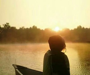 alone, evening, and girl image