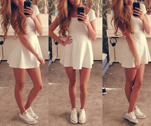 beautiful hair, long curly hair, and white converse image