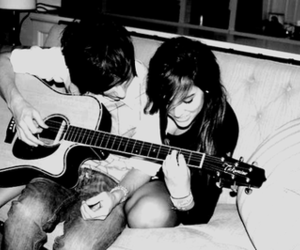 couple, guitar, and music image