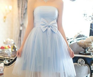 dress, blue, and bow image