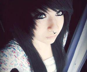 black hair, emo, and scene image