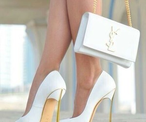 gold, heels, and white image