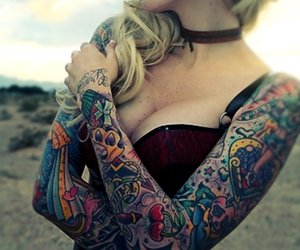 tattoo, blonde, and sexy image
