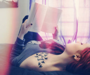 tattoo, book, and girl image