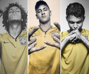 thiago silva, david luiz, and neymar image