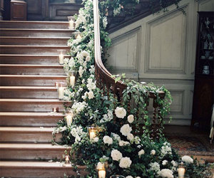 flowers, stairs, and wedding image