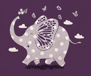 cute, butterfly, and elephant image