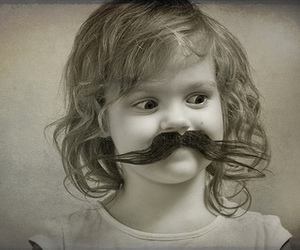 moustache and young girl image