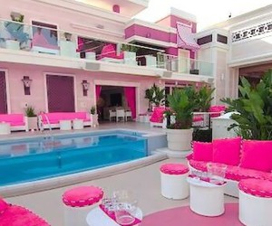 pink, house, and pool image