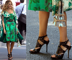 eiffel tower, green dress, and sarah jessica parker image