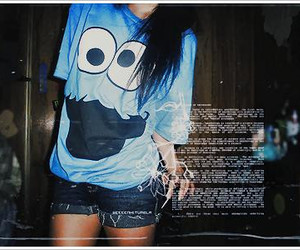 cookie monster, girl, and emo image