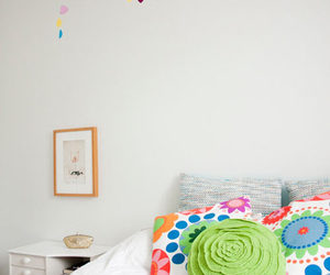 colorful, pillows, and hearts image