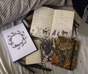 book, drawing, and vintage image