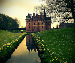 castle, green, and flowers image