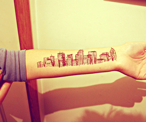 tattoo, city, and arm image