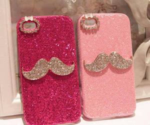 pink, mustache, and iphone image