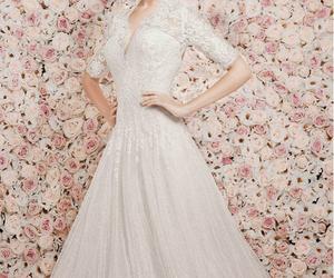 elegant, lace, and wedding dress image