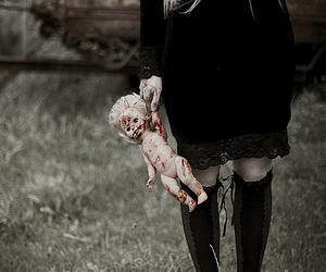 doll, blood, and dark image