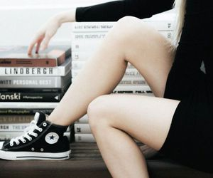 converse, book, and black image