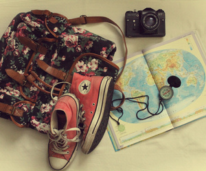 backpack, converse, and floral image
