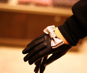gloves, bow, and black image
