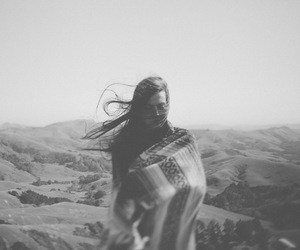 black and white, girl, and wind image