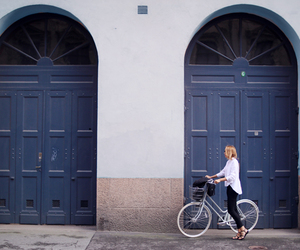 girl, door, and bike image