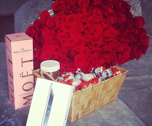 rose, moet, and flowers image