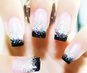 nails, black, and glitter image