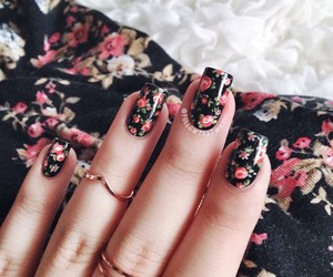 flowers, nails, and black image