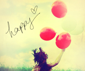 happy, balloons, and happiness image