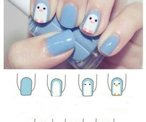 nails, penguin, and blue image