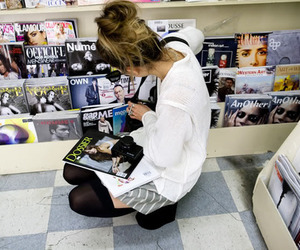 girl, magazines, and hair image