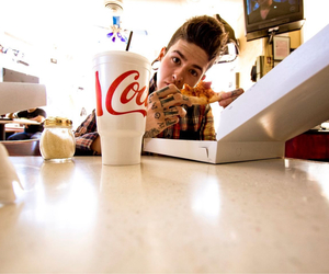 t mills, boy, and pizza image