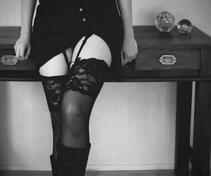 black and white, garter, and garter belt image