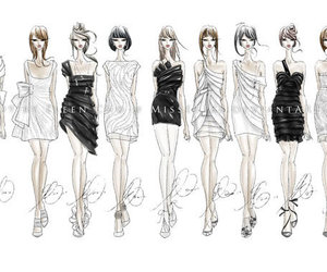 fashion, dress, and sketch image