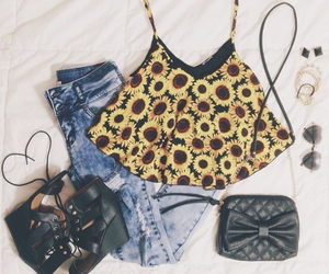 outfit, sunflower, and cute image