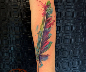 feather, tattoo, and watercolor image