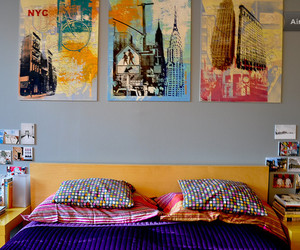 bed, decor, and wall image