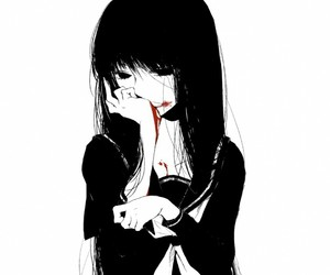 anime, blood, and black and white image