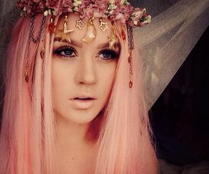 beautiful, blue eyes, and pink hair image