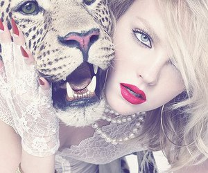 girl, tiger, and red image