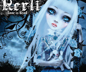 dark, woman, and doll image
