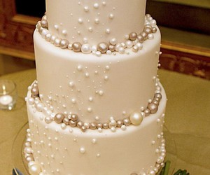 cake, pearls, and wedding image