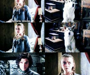 arya stark, jon snow, and nymeria image
