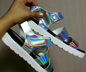 holographic and sandals image