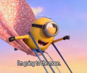 minions, moon, and fly image